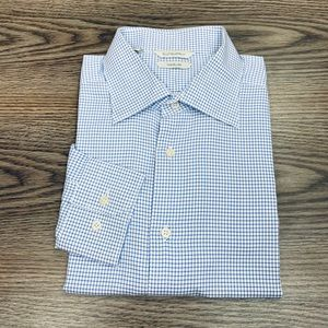 Suitsupply White w/ Blue Check Slim Shirt 16.5